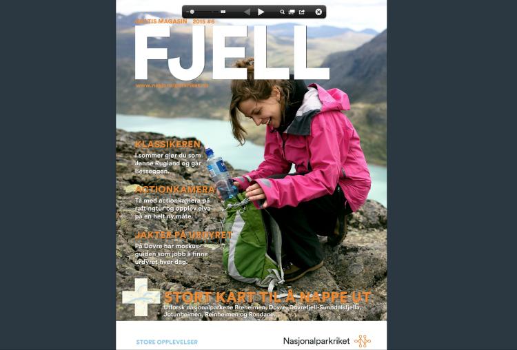 Janne på forsiden av årets FJELL. (faksimile)